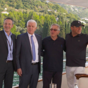 Montenegrin Prime Minister, Robert De Niro, RH DM CEO on Riana Yacht during GCF (global forum)